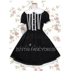 Short Sleeves Turndown Collar Lace Cotton Black and White Gothic Lolita Dress Fancy Dress