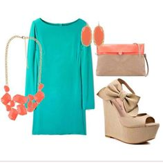 Coral and teal outfit