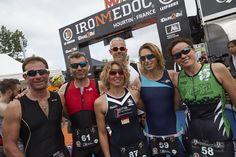 Les membres de la team Loubsol à l'arrivée l'IronMedoc 2015 ! Ils portent les lunettes suivantes: la Booster Blanc Bleu, la Booster LimeBleu,  la Synchro Blanc Rouge, la Synchro NoirBlanc, la Synchro NoirVert  et Race Noir Rouge Photochromique