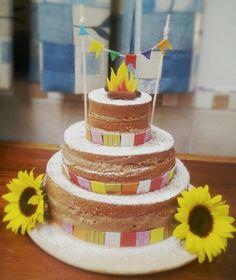 Bolo tema festa junina - Naked cake de brigadeiro gourmet de paçoca - Petit Petit by Renata Fantini