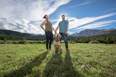 Golden with Short Haircut on Engagement Session at Brainard lake