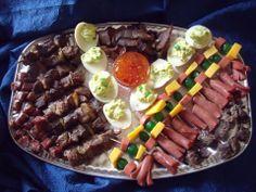 Savoury Platter with eggs, biltong, vianna bites, meatballs, sosaties and onion bites Sandwich Cake, Sandwiches, Breakfast Platter, Biltong, Turning, Onion, Birthday Ideas, Wedding Planning, Anniversary