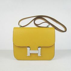 Hermes Constance Cowskin Leather Bag H017 yellow silver