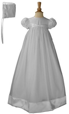"31"" White Organza Christening Baptism Gown Accented with Polyester Satin Ribbon and Bonnet, 03 Little Things Mean A Lot,http://www.amazon.com/dp/B000JVW9VI/ref=cm_sw_r_pi_dp_etKhtb1E1EZVSW5Z"
