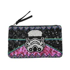 Star Wars Women's Storm Trooper Clutch Handbag with Sequins and Beads ($20) ❤ liked on Polyvore featuring bags, handbags, clutches, black, sequin handbags, zipper handbag, beaded purse, zip purse and handbags purses