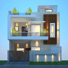 House Wall Design, 2 Storey House Design, House Outside Design, Duplex House Design, House Front Design, Duplex House Plans, Modern Small House Design, Modern Minimalist House, Modern Exterior House Designs