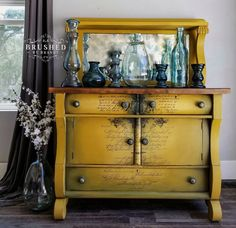 My Top 20 Dixie Belle 3 color blends – Brushed By Brandy Colonel mustard Collard greens Stormy seas Yellow Painted Furniture, Chalk Paint Furniture, Colorful Furniture, Eco Furniture, Refurbished Furniture, Recycled Furniture, Antique Furniture, Furniture Design, Diy Furniture Appliques