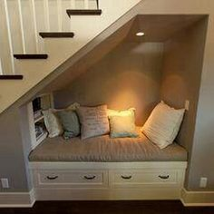 under stairs reading nook. Man my home is gonna be filled with reading nooks all… under stairs reading nook. Space Under Stairs, Under The Stairs, Under Staircase Ideas, Under Stairs Dog House, Diy Casa, Style At Home, Home Fashion, Trendy Fashion, Style Fashion