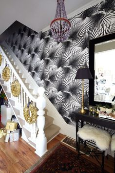 LOVE the gold wreaths going up the stairs for Christmas....maybe one day when we have stairs....