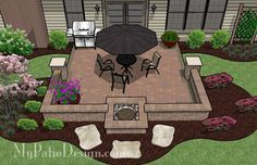 DIY Square Patio Design with Seat Wall and Fire Pit | 320 sq ft | Download Installation Plan, How-to's and Material List @Mypatiodesign.com