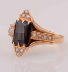 Victorian 14k Rose Gold Almandine Red Garnet & Seed Pearl Antique Ring from dolcefashiontreasures on Ruby Lane