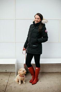 Black winter coat, leggings, and hunter boots!