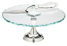 Crystal and silver cake plate w Server