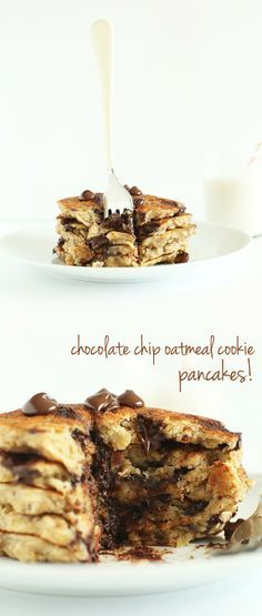 Healthy, 1 bowl, #Vegan #Gluten Free Oatmeal Chocolate Chip Cookie Pancakes!