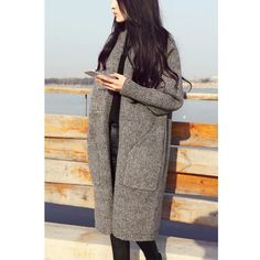 Oversized Long Cardigan Women Vintage Winter Knitted Cardigan O-Neck Female Casual Autumn Coat Outwear