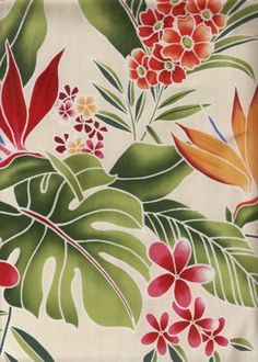 30lohi vintage Hawaiian Plumeria, ferns and leaves on a natural cotton fabric. Add Discount code: (Pin10) in comment box at check out for 10% off sub total at BarkclothHawaii.com