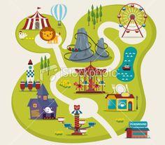 Amusement Park Royalty Free Stock Vector Art Illustration