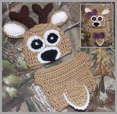 "Daddy's Little ""Dear"" - Crocheted Newborn Deer Hat & Diaper Cover Pattern ... Instant Download"