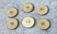 Wood Buttons-6  handmade Walnut  tree branch buttons with the bark-1 3/5 inches diameter.For,knitting,totes,pillows,handbags, $8