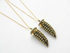 Brass Horn Necklace  Tibetan Brass Horn  Dotted by DanaCastle, $40.00