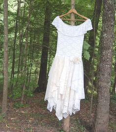 Large Alternative Wedding / Party Dress, Off Shoulder,  Boho, Fairy Woodland, Formal, Tattered, Shabby, Gypsy, Upcycled Clothing
