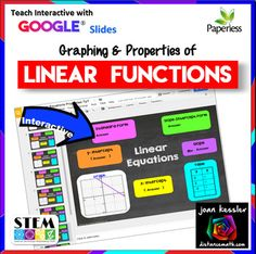 Graphs and Characteristics of Linear Functions with GOOGLE® Slides This Teach Interactive™ GOOGLE resource enables your students to explore linear equations using seven different characteristics. Each of the ten interactive slides includes one or two of the following properties: •Standard form of the equation •Slope - Intercept form of the equation •Tables •Slope •x-intercept •y-intercept •Graph of the linear