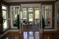 French doors. kitchen to sunroom....I like the way the trim ont eh door is higher than on the windows