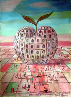 La gran manzana, acrylic on canvas, 97 x 130 cm. 2007 .Painting of the Serie Simbolism for sale by artist Diego Manuel