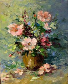 """loumargi: """"Van Gogh Small Bottle with Peonies and Blue Delphiniums ..."""