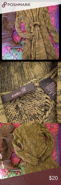 Heather B. Sweater size L Comfortable stylish cardigan sweater with front tie. No damage. Heather B Sweaters Cardigans