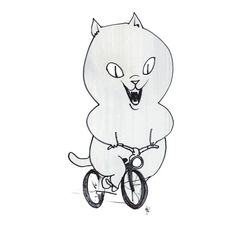Cat on a Bicycle - Black & White, looks awesome on a t-shirt!