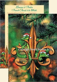 """Fleur-de-lis & Christmas Gators"" Christmas Cards, #C09B - Routh Studios, LLC"