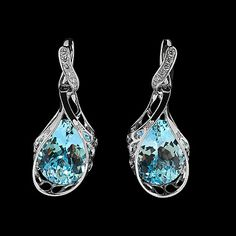Mousson atelier, collection Coral Reef - The Net, earrings, White gold 750, Sky topaz 24,23 ct., Diamonds