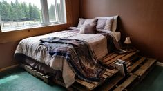 Rustic bed made from pallets