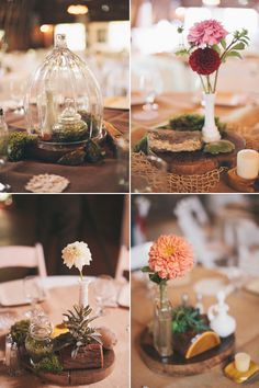 sweet floral table decor for vintage-inspired country wedding, photos by Heather Jowett Photography   junebugweddings.com