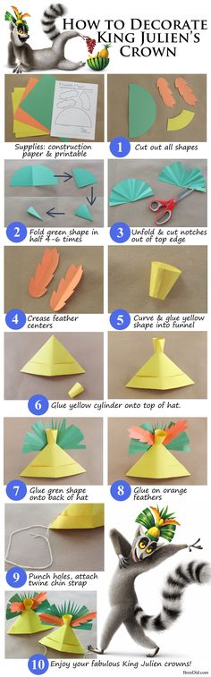 Learn how to fold paper hats! Plus a King Julian crown craft that uses the folded paper hats. FREE printable crown PLUS Madagascar Party and Jungle Party Ideas! http://brendid.com/new-years-eve-party-theme-family-party-king-julien/