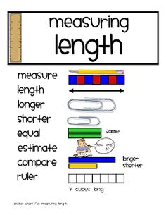 Measurement Here's a series of activities for measuring length. These are based on ideas from Debbie Diller's Math Work Stations book. Measurement Kindergarten, Measurement Activities, Math Measurement, Teaching Math, Math Activities, Length Measurement, Teaching Ideas, Kindergarten Math, Capacity Activities