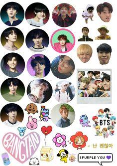 Pop Stickers, Kawaii Stickers, Printable Stickers, Bts Photo, Foto Bts, Kpop Diy, Kpop Drawings, Bts Book, Ideias Diy