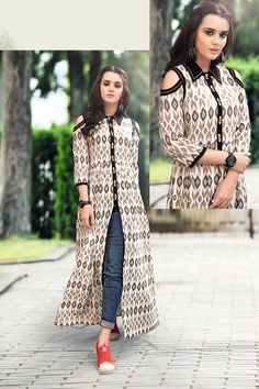 Salma'z collection Printed Kurti Designs, Kurta Designs, Blouse Designs, Long Kurti With Jeans, Kurti With Jacket, Indian Designer Outfits, Indian Outfits, Indian Gowns, Pakistani Dresses
