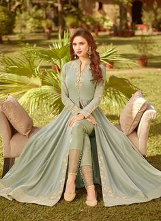 Pastel Green Golden Embroidered Slit Style Anarkali Suit will indulge you to look more beautiful on this wedding season with its alluring beauty. Party Wear Indian Dresses, Indian Wedding Gowns, Dress Indian Style, Bridal Dresses, Flapper Dresses, Pakistani Party Wear, Pakistani Fashion Casual, Pakistani Dresses Casual, Indian Fashion