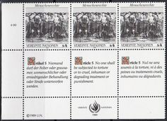 United Nations - Geneva, Switzerland Office postage stamps - Human Rights, 1989.