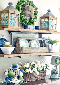 Declutter And Style And Design For Put Up-Spring Crack Homeschool Good Results Rustic Farmhouse Open Shelves With Blue And Green Summer Decor Worthing Court Diy Home Decor Rustic, Country Farmhouse Decor, Farmhouse Style, Rustic Cottage, Decoration Inspiration, Decor Ideas, Green Decoration, Lanterns Decor, Blog Deco