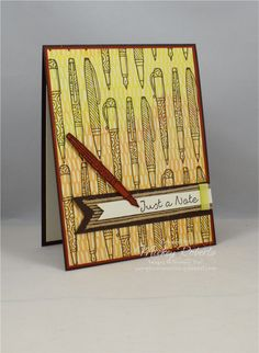 Blog Post Date:  September 5, 2017.  A note card featuring a group of pens from the Crafting Forever stamp set.  Other elements of this card include:  Better Together stamp set, Painted Autumn Designer Series Paper, Burlap ribbon, Lemon Lime Twist Ombre ribbon, and the colors of Cajun Craze, Early Espresso, Lemon Lime Twist, and Very Vanilla.