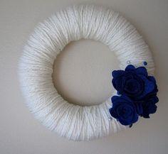 Yarn Wreath Handmade Felt Decoration12 inch by jspooner08 on Etsy, $17.00 Yarn Wreaths, Felt Decorations, Small One, Handmade Felt, Felt Flowers, Blue And Silver, Holiday, Crafts, Etsy