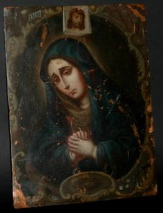 Retablos are religious figures painted on wood, tin and this one is on copper  ..Spanish Colonial Copper Retablo