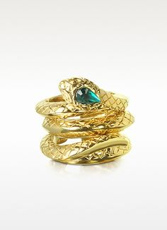 Roberto Cavalli Goldtone Snake 3 Piece Ring Set: 475.00 I love the three pieces that create one snake.