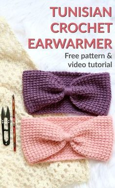 Tunisian simple ear warmer free pattern and video tutorial