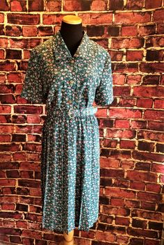 Country Charm Green and Pink Floral Print 1980's Belted Day Dress, Sz. 10 Petit by CobbWebbTreasures on Etsy