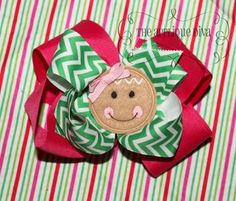Christmas Gingerbread Face Hair Bow Center by theappliquediva, $2.99