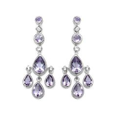 6.52 Carat Genuine Pink Amethyst & White Topaz .925 Sterling Silver Earrings